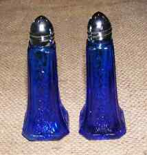 Salt and Pepper Shakers Cobalt Blue Pair Reproduction Depression Glass #508C