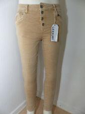 Neue Lexxury Damen Boyfriend Jeans Baggy Hose Gr S / 36 Hüftjeans Sand Stretch