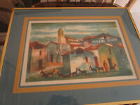 "SIGNED LITHOGRAPH ARTIST PROOF ""THE VILLAGE"" SIGNED A. RIO"