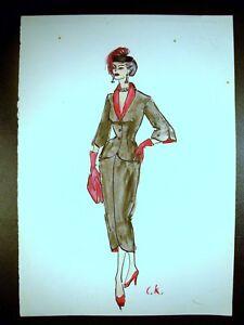 Businesswomen Fashion 1946-59 Original Watercolor Sketch By C Schattauer Kelm