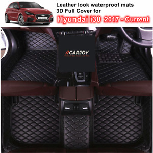 3D Moulded PU leather Waterproof Car Floor Mats for Hyundai i30 2017 - 2021 ALL