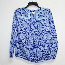 J.Crew womens blouse size XXS blue printed paisley peasant long sleeve tunic top