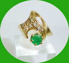 Lovely 14kt Yellow Gold Emerald & Diamond Ring-- Size 5.75
