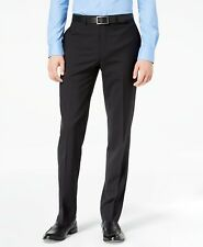 $200 CALVIN KLEIN Men 35W X 36L Black Plaid Wool Slim Fit FLAT FRONT DRESS PANTS