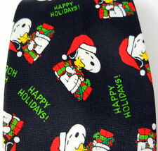 Snoopy Woodstock Christmas Black Tie Santa Hat Presents Happy Holidays! Words