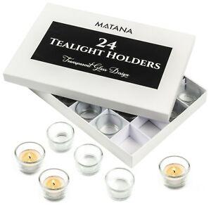 Set of 24 Circle Tea Light Candle Holders Clear Glass Design Stylish Decor