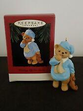 Sleepy Teddy Bear Waiting up for Santa Hallmark Keepsake Christmas Ornament 1995