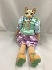 Victorian Cat Doll Porcelain Boy Lavender Green Satin