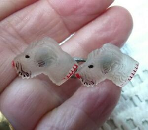 JEWELLERY VERY VINTAGE OR ANTIQUE COLLECTABLE GLASS SCOTTIE DOG BROOCH  780