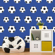 Blue Football Wallpaper Soccer Ball Sport Kids Boys Bedroom White Black Goal