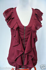 **HO DOESN'T KNOW WHY?** Ruffled Red Chiffon BLouse Top 10 S Vest Zipper Open