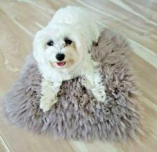 100% GENUINE Sheepskin PET BED Rug Seat Cover Pet Puppy Dog Cat Mat DELICATE FUR