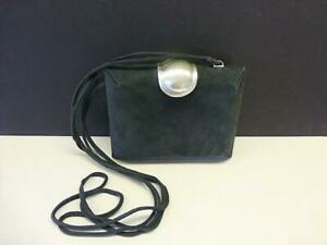 Retro DONNA KARAN New York BLACK Suede Leather Handbag Shoulder Bag CLUTCH Purse