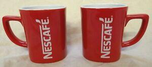 Pair 2 Retro Square New Nescafe Red Coffee Mugs Tea Mug Cup Original VGC
