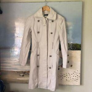 """KOOKAI"" VINTAGE Long 100%cotton ecr trench coat/vgc/size 36"