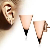 Pair Of 316L Surgical Steel Rose Gold Hand Polished Triangle Stud Earrings