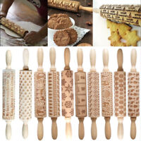 Christmas Xmas Snowflake Elk Wooden Rolling Pin Dough Engraved Carved Roller DIY