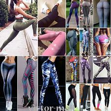 Damen Stretch High Waist Leggings Sport Laufhose Fitness Yoga Gymnastik Leggins