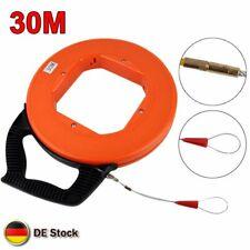 30m Fiberglas Kabel Einziehhilfe Einziehband Einziehspirale Einziehdraht