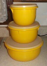 vtg tupperware handolier nesting bowls set of 3 yellow clear top USA