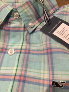 VINEYARD VINES 12 - 14 Button  down whale shirt M Medium Capaum Plaid NWT boys
