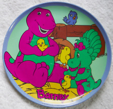 "Vintage BARNEY THE PURPLE DINOSAUR Baby Bop Plastic Dinner Plate Melamine 8"""