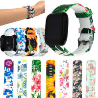 Silicone Watch Band Flower Floral Print Wrist Strap For Fitbit Versa Replacement