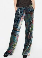 $248 JOHNNY WAS VELVET ROSETON PRINTED PANTS COLORFUL ELASTIC WAIST SZ XL NWT