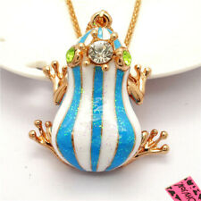 New Betsey Johnson Fairy Tale Blue Enamel Crown Frog Crystal Pendant Necklace