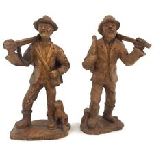 "VTG Mid Century Handcarved Wood Figure, Alpen Lot of 2  7 1/2"" Walnut German"