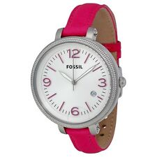 NEW FOSSIL HEATHER HOT PINK LEATHER BAND+SILVER TONE OVERSIZE DIAL WATCH ES3277