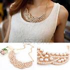 New Fashion Women Pearl Gold Choker Pendant Bib Collar Chain Statement Necklace
