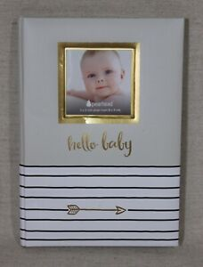 NEW Pearhead Hello Baby, First 5 Years Baby Memory Book with Photo Insert, Gray