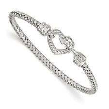 Platinum Sterling Silver Italian Mesh White Sapphire Heart Arrow Bangle Bracelet