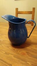 Enamel Blue Pitcher or Vase With White Specs Classic Farmhouse Look