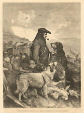 Scotch game keeper - by R. Ansdell - Exhibition of. Hunting 1855 ILN full page