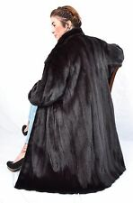 US461 Black Exellent Mink Fur Coat Jacket Full Length Women Nerzmantel ca. 2XL