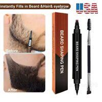 2~Waterproof Beard Pencil Filler Hair Grower Moustache Shaping Pen Eyebrow Brush