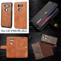 For LG V30/ V30 plus Detachable Magnetic PU Leather Card Slots Wallet Case Cover