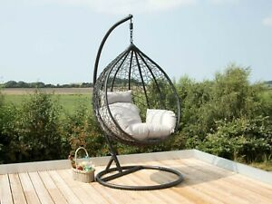 Hanging Cocoon Egg Chair Garden Swing 1/2 Person Hammock Removable Cushions !!!