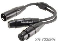 6-inch Pig-Hog XLR (3-Pin) Male Jack to 2-XLR Female Y-Splitter, OFC Cable