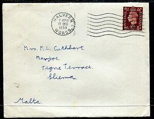 GB 1½d KGVI cover (entire) Malvern to Malta 18DEC38