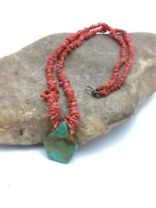 """Vintage Old Pawn Native American Coral Brass Necklace Turquoise Pendant 19"""" 4002"""