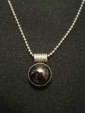 "925 Sterling Silver Amethyst Stone Pendant Necklace 18"" ~ 6.82 Grams"