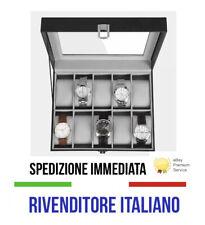 Scatola porta 10 Orologi Custodia Valigetta Bracciali Box Portagioie Espositore