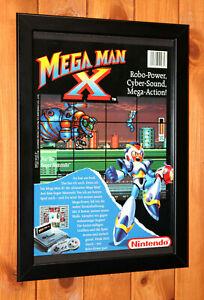 1993 Mega Man X Nintendo SNES Vintage Small Promo Poster / Ad Page Framed
