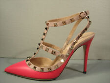 VALENTINO 38 PINK GOLD ROCKSTUD T-STRAP ANKLE STRAP POINT TOE SLINGBACK PUMP NEW