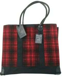 Woolrich John Rich & Sons Fold Away Wool Parka Tote Hand Bag Red Tartan Check