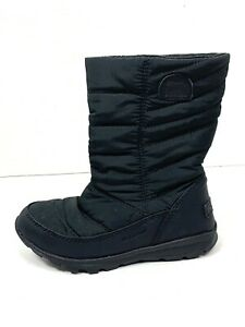 Sorel Kids Whitney Mid Black Winter Nylon Boots Girls Size 12 Pull On