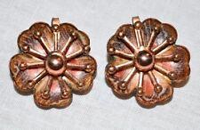 VTG MATISSE RENOIR LEILANI Copper Enamel Flower Leaf Clip Earrings